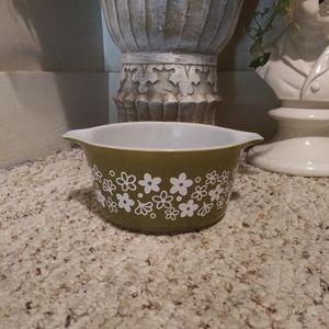 ❤EUC Vtge. Pyrex Spring Blossom Avacado/White Dish